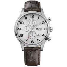 Hugo Boss 1512447 Men's Brown Leather Band With Silver Analog Dial Watch