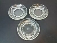 """Vintage Clear Glass 6"""" Ashtray Lot of 3"""