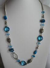 "N5 Rhinestone Blue Crystal Bead Necklace Silver Tone Filigree Chain 33"" NEW"