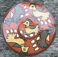 Old Vintage Rustic Naive Studio Pottery Plate Simplistic Chicken Bird Decoration