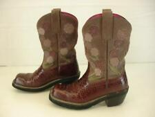 Womens 7 B M Ariat Doll Baby Burgundy Snakeskin Purple Suede Floral Cowboy Boots