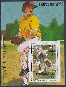 Baseball 1992 Barcelona Sao Tome E Principe Block, Postmarked, Used