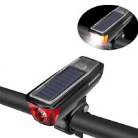 RockBros Bicycle Cycling Headlight Solar USB Charging 350 Lumen Light 120dB Horn