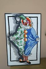 "Vintage Hand Made Mixed Stitch Needlepoint Needlwork Clown 14"" x 22"" - 15"" x 23"""