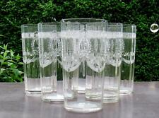 6 ANTIQUE TIFFIN TUMBLERS #203 ETCHED WREATH RIBBON SWAG