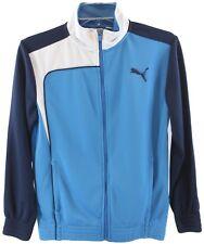 Puma Youth Boys Blue White Zip Front Long Sleeve Jacket Size M