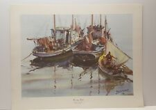 Vintage Lithograph Art Print James Sessions Herring Boats