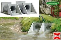 BNIB OO / HO BUSCH 7891 Water Passage Pipes / Culvert Pipes Kit - Twin Pack