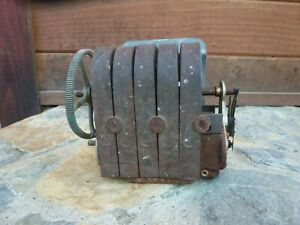Vintage 5 Bar Telephone Magneto Generator Hand Crank Phone Parts or Repair