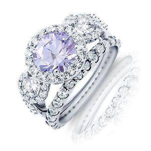 Brilliant Lavender Halo Sterling Silver Wedding Engagement Ring Set