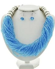 Multi Strand Aqua Blue Faceted Lucite Acrylic Bead Chunky Necklace Earring Set