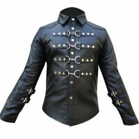 Mens Real Black Sheep Leather Buckle Uniform Shirt