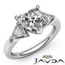 Shiny Heart Diamond Three Stone Engagement Ring GIA I SI1 14k White Gold 1.55 ct