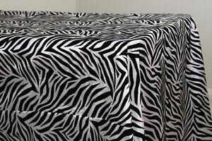 "10 Zebra Tablecloths 57"" X 108"" Flocking Taffeta Overlays Banquet Wedding Animal"