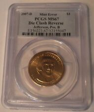 2007 D Jefferson Extra Spike Clashed Die Error PCGS MS67 Pos B 8th Ray