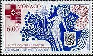 """MONACO N° 1960 """"CROIX ROUGE OFFSET, LUTTE CONTRE LE CANCER""""xxTTB"""
