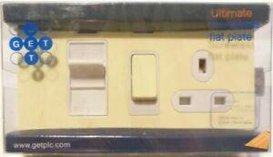 SCREWLESS COOKER CONTROL UNIT 45 AMP FLAT CREAM METAL FACE PLATE – BRAND NEW UK