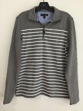 Banana Republic 1/4-Zip Cotton Pullover Sweatshirt Gray w/White Stripes Size M