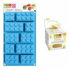 Silicone Cake Mould by Lego Bricks by ScrapCooking + Edible golden glitter