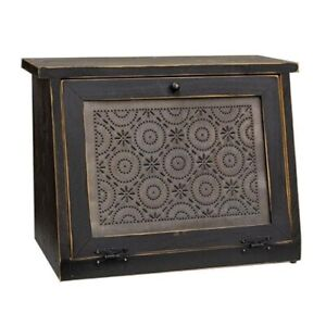 New Primitive Country BLACK PUNCHED TIN PINWHEEL BREAD BOX Wooden Cabinet