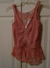 NWT CHARLOTTE RUSSE PEACH LACE ROSE ZIPPER SLEEVLESS TANK CAMI TOP