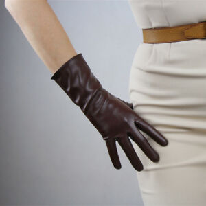 Tech Gloves Faux Leather Patent Leather Wrist Long Short Shine White Touchscreen