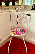 Vintage Wrought Iron Upholstery Ice Cream Parlor Chairs, Made in India