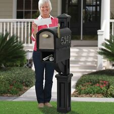 Large Rural Mailbox Post Mount Pedestal Heavy Duty Rain Overhang Mail Box Black