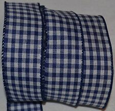 "Wired Ribbon~Country Blue Check~White~Rustic Gingham~Primitive Plaid~1.5""~Bow"