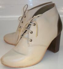 Nina Payne Womens EU 37 Off-White Gold Leather Lace-Up Oxford Heels Ankle Boots