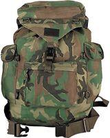 Woodland Camouflage Backpack - Military Canvas Outdoorsman Hiking Rucksack Bag