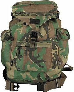 Woodland Camouflage Backpack - Military Canvas Outdoorsman Hiking Rucksack Bag