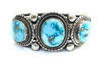 Native American Sterling Silver  Navajo Manessa Turquoise Cuff Bracelet