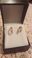 Vintage 9ct Diamante Pendientes De Oro