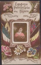 CARTE POSTALE ANCIENNE FANTAISIE-LANGAGE PATRIOTIQUE DES FLEURS/DRAPEAUX-1919