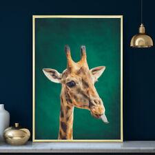 Giraffe Safari Tropical Green Wall Art Animal Print Painting Poster Decor A4-A1