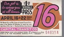 Trolly/Bus pass capital Transit Wash. DC--1944-----85