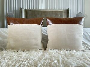 Faux Leather and 100% Cotton Cream Decorative Pillow Covers Camel Leather Accent