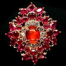 NATURAL ORANGE FIRE OPAL, RUBY & CZ RING 925 STERLING SILVER SIZE7.75