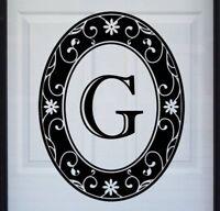 "Oval Black & Clear Monogram G Window & Door Decal Vinyl Static Cling 21"" x 28"""