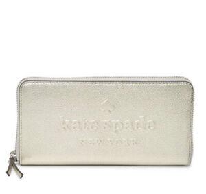 NWT Kate Spade Leather Neda Larchmont Ave Logo Metallic Zip Around Wallet Silver
