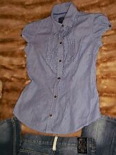 American Eagle Outfitters Women's White Blue Striped Button Down Top Blouse Sz 0