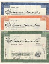 Set of 3 American Brands, Inc. Stock Certificate