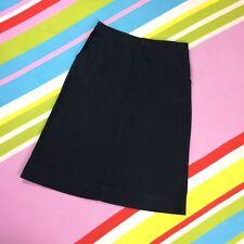 "Plain Black Linen Cotton Blend A-line Midi Skirt by Soft Grey size 14 32"" Waist"
