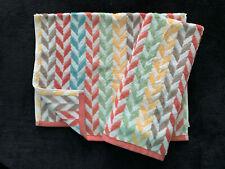 Peri Chevron - Orange Aqua Green Brown Y7Ellow - Hand Towels Set Of 2 - New