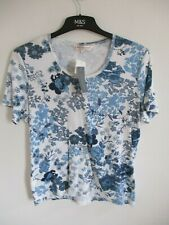 EWM CLASSIC LADIES BLUE/WHITE FLORAL CAP SLEEVE T-SHIRT WITH ROUND NECK LARGE