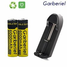 2X 18650 Rechargeable BRC 3.7V Li-ion Battery 6000mah Cell + Recharge Charger