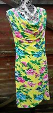 🌻Stunning BODYFLIRT Jersey Cowl Neck Dress, Yellow/Pink/Multi, Size 12/14*🌻