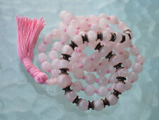 8 mm 108 Rose Quartz Mala beads, Hand Knotted Hindu Prayer Necklace, Japa Mala N