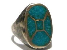 NATIVE AMERICAN STERLING SILVER TURQUOISE ESTATE WOMENS SHIELD RING SIZE 7.5
